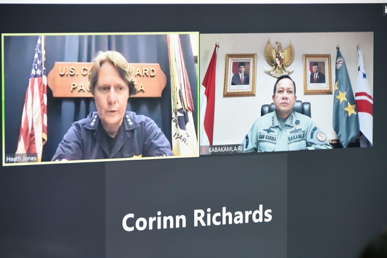 Bahas Hubungan Kerja Sama: Kepala Bakamla RI Komunikasi Vicon Dengan Komandan US Coast Guard Wilayah