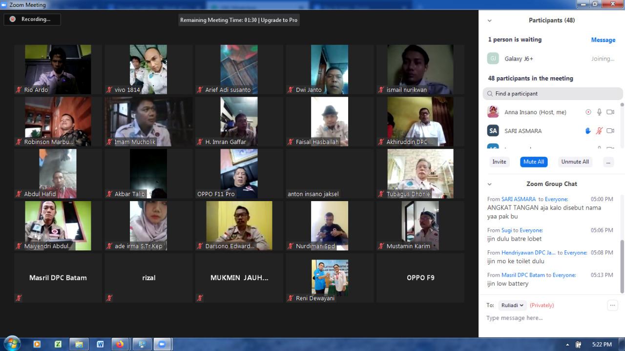 Meeting Zoom INSANO, Kuatkan Peran P4GN